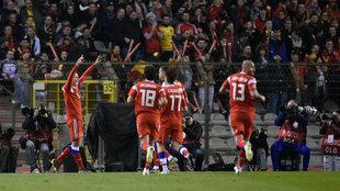 Cheryshev celebra su gol con Rusia a Bélgica.