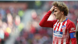 Antoine Griezmann wearing the captain's armband for Atletico...