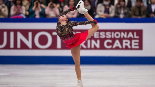 Alina Zagitova, durante el programa largo del Mundial de Saitama.