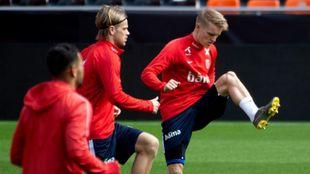 Martin Odegaard durante un entrenamiento con Noruega