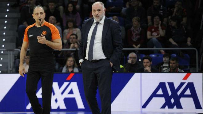 Pablo Laso en el Buesa durante el partido ante el Baskonia.