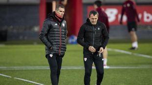 Garitano y Ferreira, durante un entrenamiento.