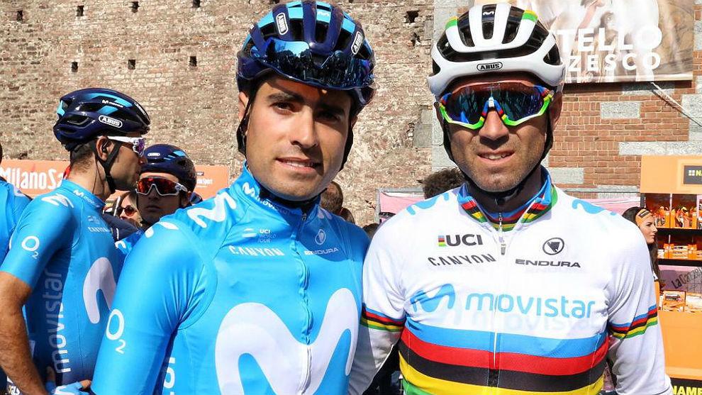 Alejandro Valverde y Mikel Landa, esta mañana en la Piazza del...