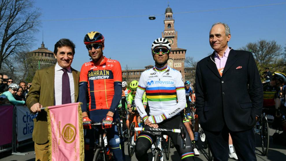 Vicenzo Nibali, último ganador de la clásica, y Alejandro Valverde,...