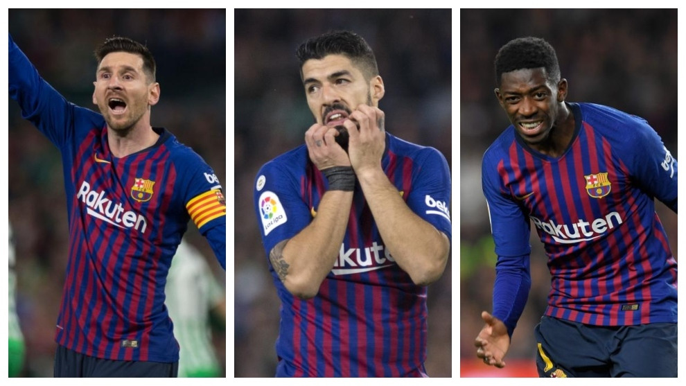 Messi, Luis Suárez and Dembélé.