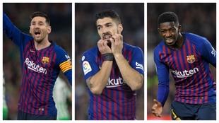 Messi, Luis Suárez and Dembélé.