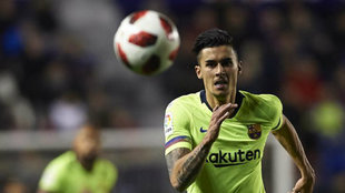 Chumi chasing the ball in the Copa del Rey match against Levante.