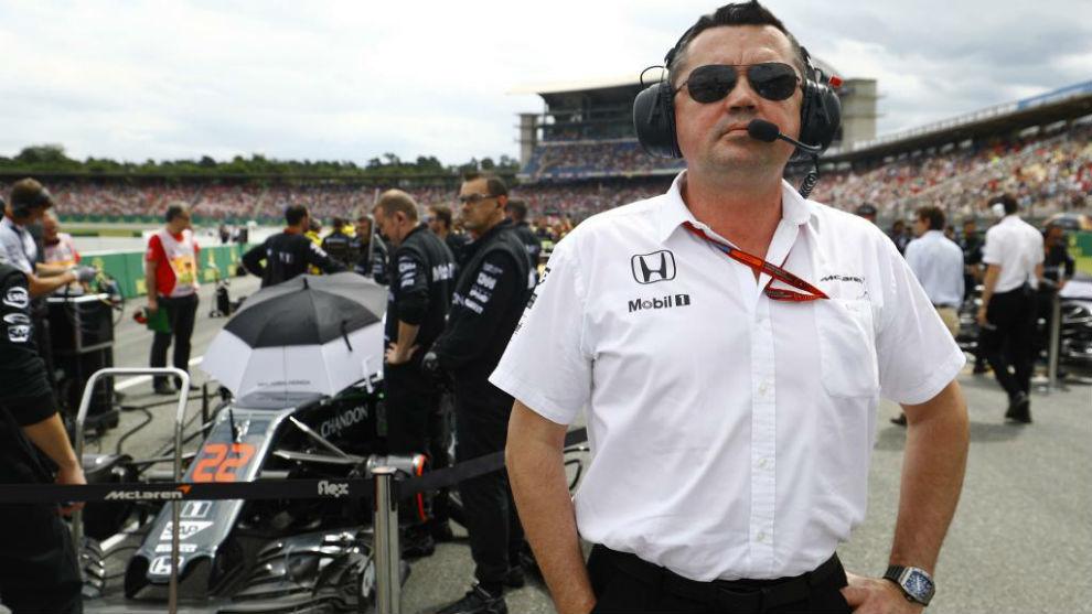 Boullier, en la parrilla del Gran Premio de Alemania 2016.