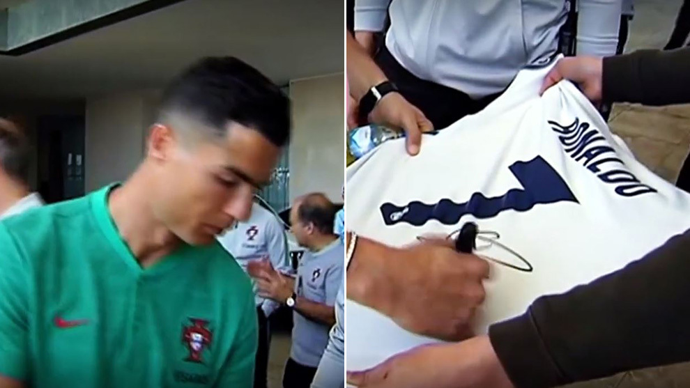 newest 42a46 5fe25 Real Madrid: Cristiano Ronaldo jokes with a fan who asks him ...
