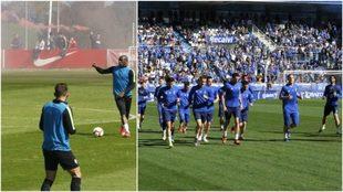 Los aficionados del Sporting y del Oviedo, en el entrenamiento de hoy