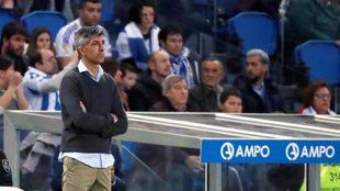 Imanol, durante un partido de la Real en Anoeta.