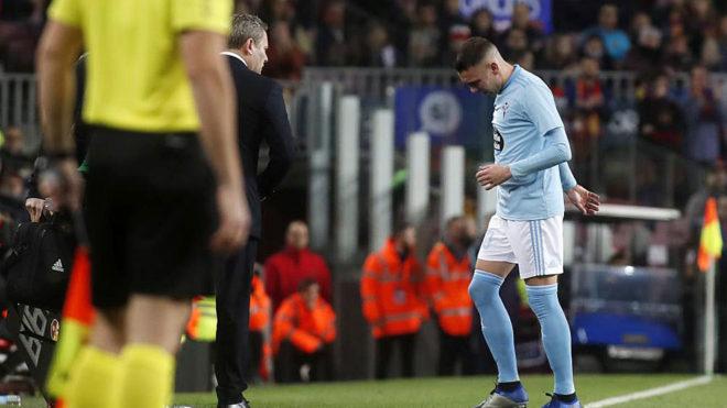 Aspas, cuando cayó lesionado en el Camp Nou.