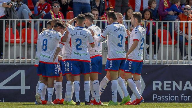 Los jugadores del Rayo Majadahonda celebran uno de los cuatro goles ante el Numancia.