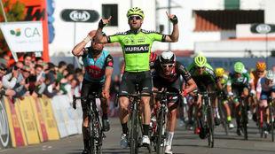 Enrique Sanz, en una imagen de su victoria en la primera etapa de la...