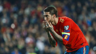 Ramos after scoring against Norway.