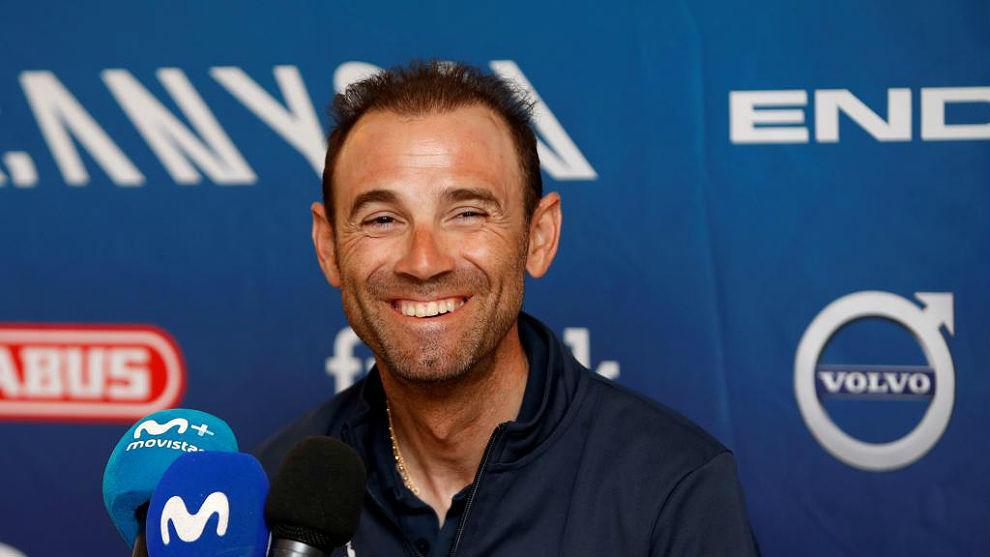 Alejandro Valverde, este domingo en rueda de prensa en un hotel de...