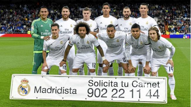 Un once del Real Madrid de la temporada 2015-16.