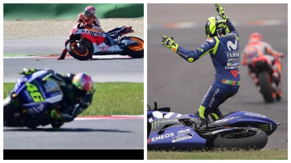 Las dos caídas de Rossi y Márquez en 2015 y 2018 en Termas de Río...