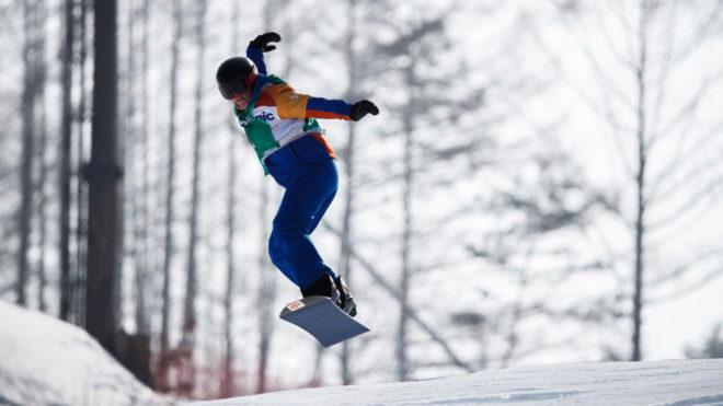 Astrid Fina, durante la prueba en la que ganó el bronce paralímpico...