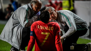 Cristiano receiving treatment after sustaining an injury.