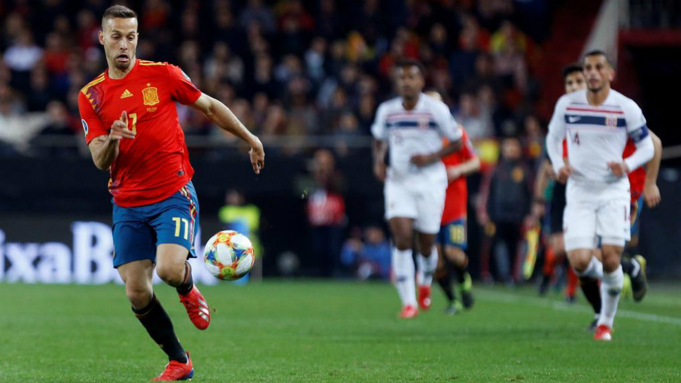 Sergio Canales, con la selección española en el partido ante Noruega