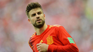 Gerard Pique playing for Spain