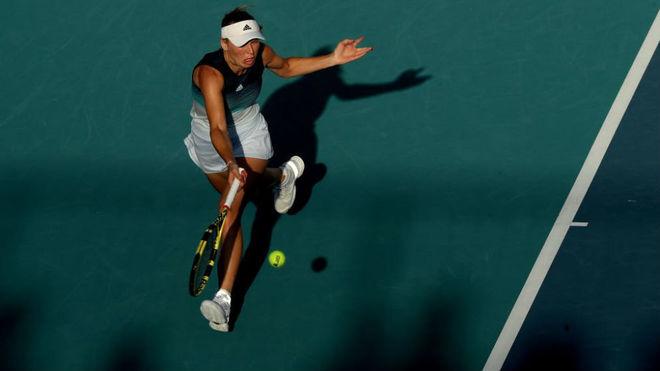 Caroline Wozniacki en su partido ante Su-Wei Hsieh.