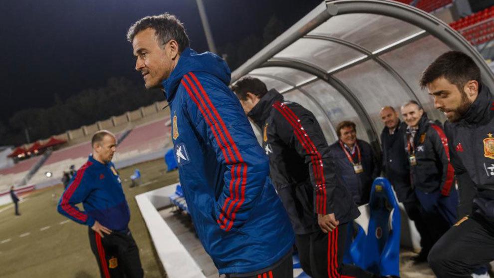 Luis Enrique, en el último entrenamiento de España este lunes
