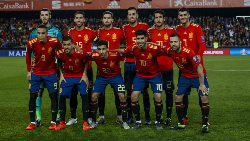 Selección de España en el pasado encuentro ante Noruega
