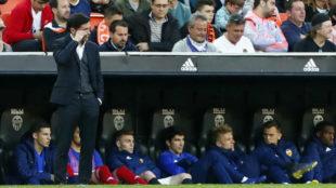 Marcelino delante del banquillo, durante el Valencia-Getafe.