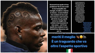 Image of Balotelli alongside his messages on Instagram.