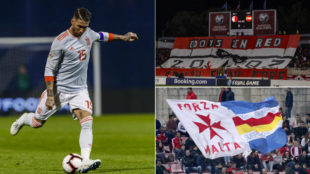 Ramos y aficionados de Malta
