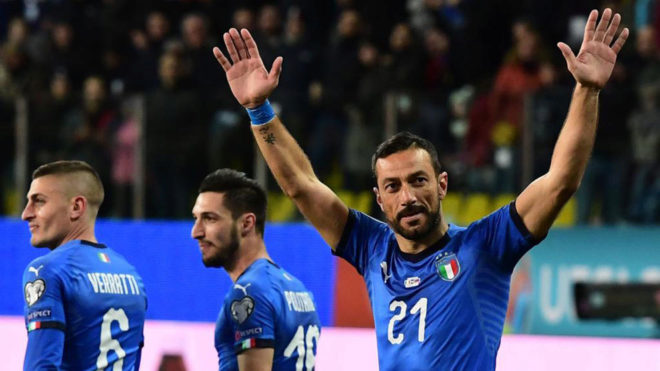 Quagliarella celebrating one of his goals against Liechtenstein.