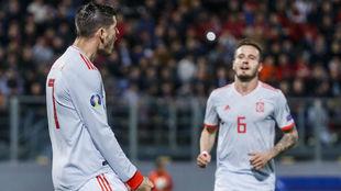 Morata celebra el primer gol del partido ante Malta.