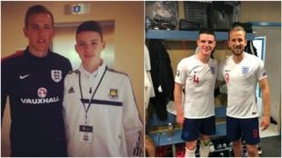 Declan Rice, junto a Kane en 2014 y en 2019.