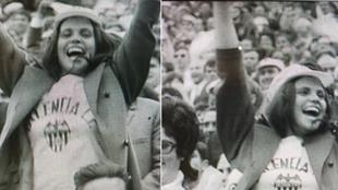 Imagen de la aficionada del Valencia en la celebración de la Liga de...
