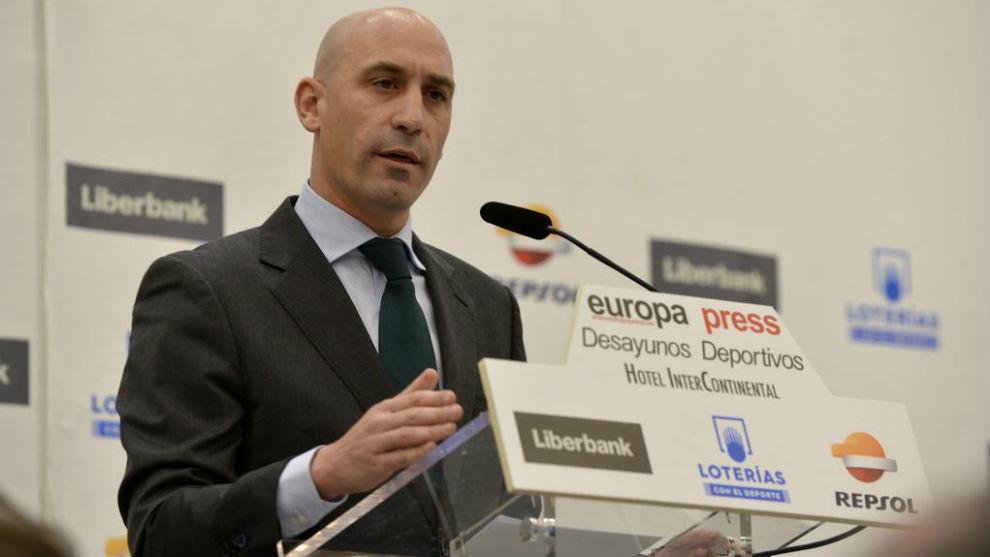 Luis Rubiales durante una rueda de prensa.