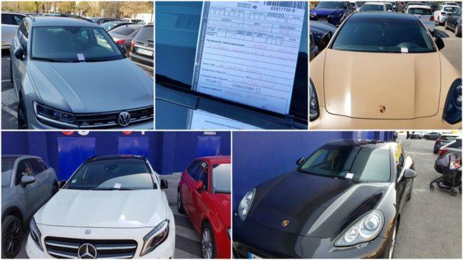 Imágenes de los coches de los jugadores del Levante con las multas...