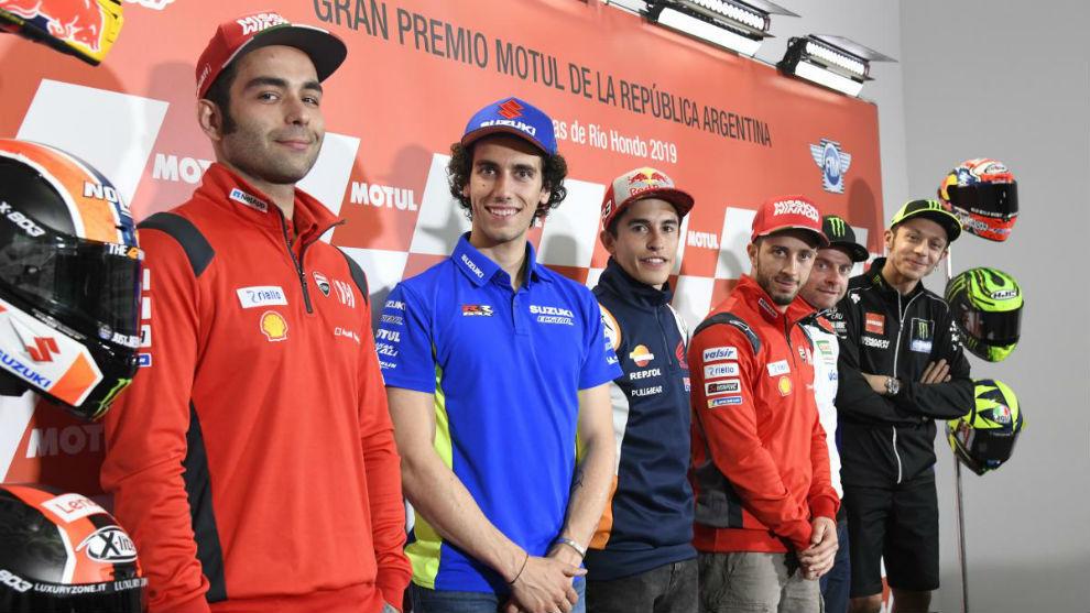 Márquez y Rossi, en la rueda de prensa.