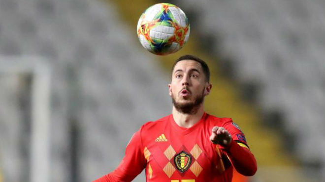 Hazard playing for the Belgian national team.