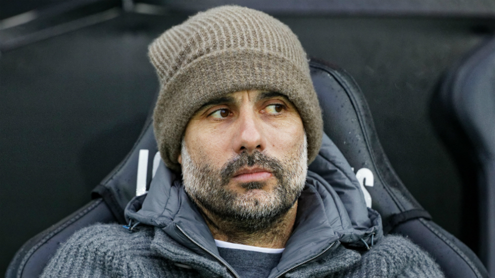 Guardiola during a Manchester City match.
