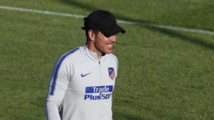 Simeone durante un entrenamiento del Atlético.