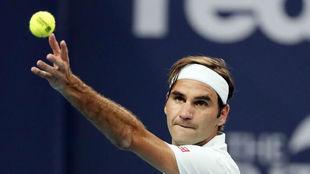 Roger Federer, en un saque.