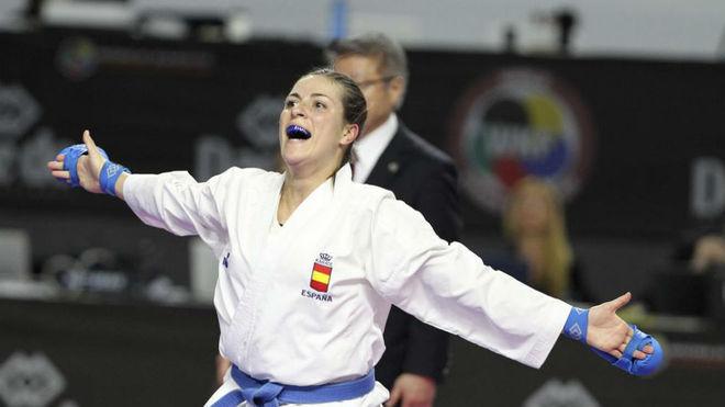 Laura Palacio, durante el Mundial de kárate.