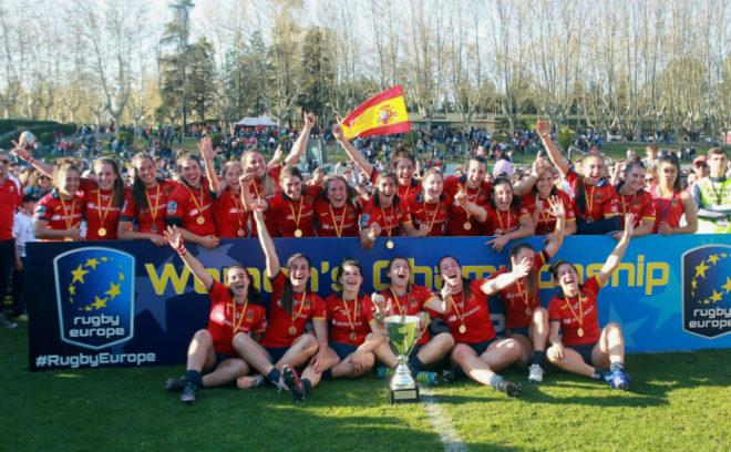 La selección española de rugby, tras ganar el Europeo