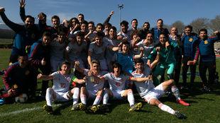 La selección sub 17 celebra el pase al Europeo.