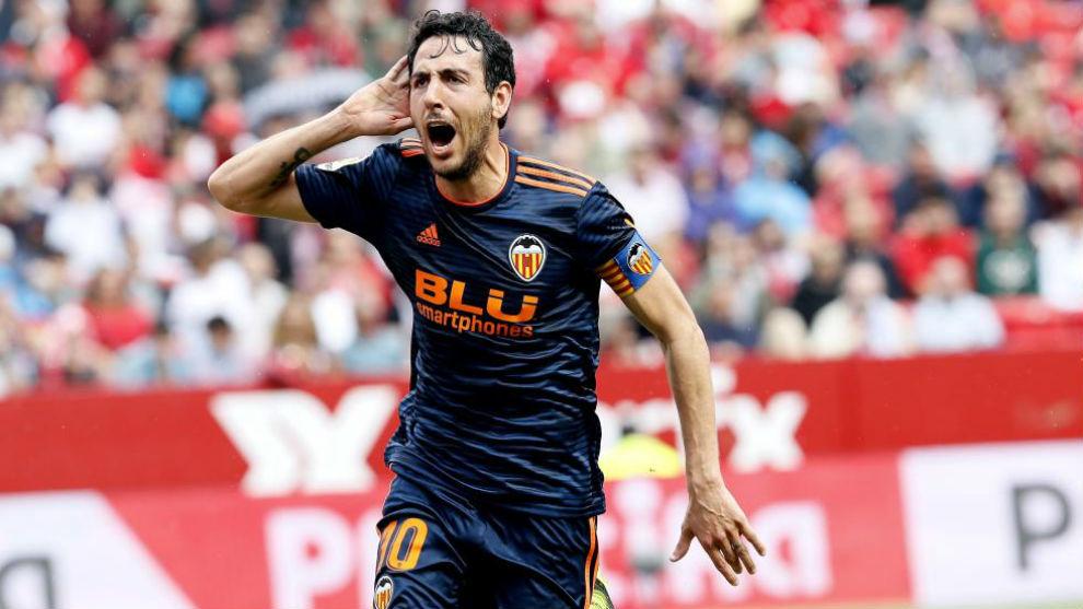 Parejo celebrando el gol de la victoria ante el Sevilla.
