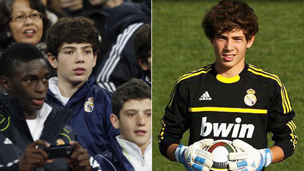 Luca, en el Bernabéu como aficionado (2011) y como portero de las...