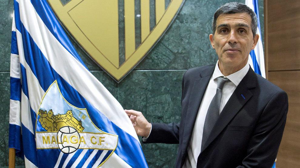 Juan Ramón López Muñiz, el día de su presentación con el Málaga
