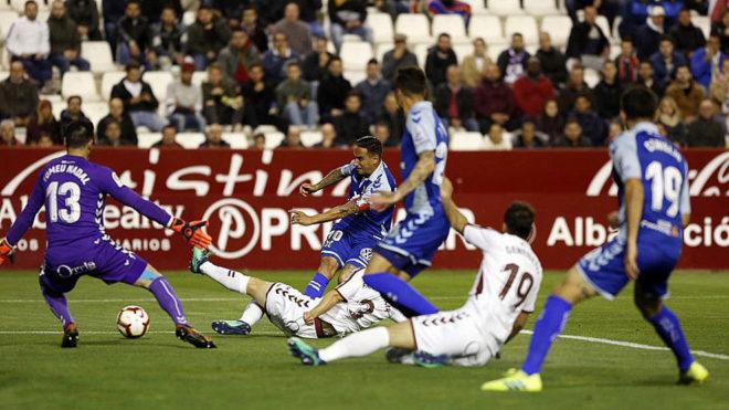 Imagen del Albacete-Tenerife disputado en el Carlos Belmonte.